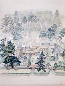大山守大塲家郷士屋敷-椿桜湖の絵